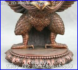 Tibet Pure Bronze Hawk Redpoll Winged Garuda Bird King Eagle Buddha Statue