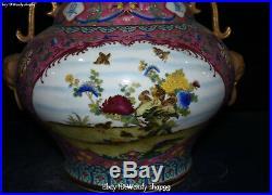 Top Enamel Wucai Porcelain Peony Lotus Flower Magpie Bird Vase Bottle Flask Jar