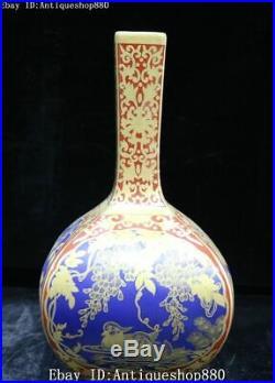 Top Jingdezhen Wucai Porcelain Phoenix Parrot Bird Flower Bottle Vase Jar Statue