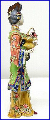 Traditional Chinese Lady Shiwan Chinese Porcelain Ceramic Lady Figurine
