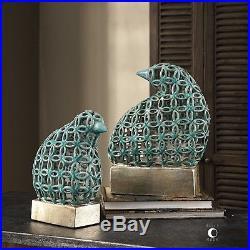 Two Pierced Ceramic Bird Modern Art Statue Sculpture Aged Teal Glaze Silver Base