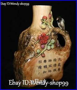 Unique Emerald Color Porcelain Parrot Bird Plum Flower Vase Bottle Pot Tank