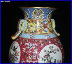 Unique Enamel Color Porcelain Magpie Bird Flower Split Pot Bottle Jardiniere