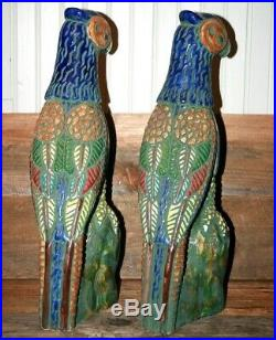 VINTAGE Pair Ceramic Porcelain Phoenix Birds Parrot Mexican Chinese 19 Rare