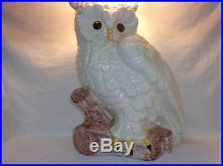 VTG CERAMIC WHITE OWL 21 SCULPTURE STATUE Hollywood Regency Mid Century Modern