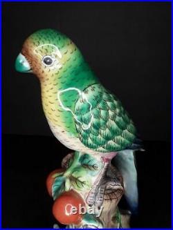 Vintage Antique Chinese Parrot Porcelain figure on tree trunk