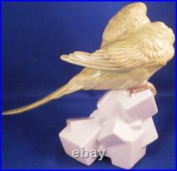 Vintage Augarten Wien Porcelain Parakeet Figure Figurine Porzellan Figur Vienna