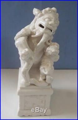 Vintage Blanc De Chine porcelain foo dog pedestal horse motif circa 1950s
