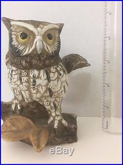 Vintage Ceramic Owl On Perch Figurine Statue Art Collectible Decorative Birds