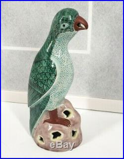 Vintage Chinese Export Porcelain Parrot Statue Figurine Famille Verte Ceramic