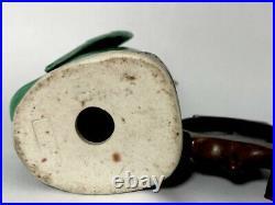 Vintage Chinese Export Turquoise Glazed Porcelain Bird with wood Base