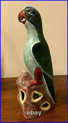 Vintage Chinese Famille Verte Colors Pottery Porcelain Parrot