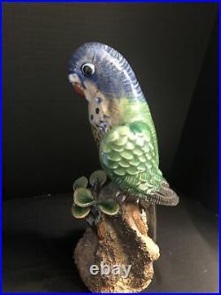 Vintage Chinese LOVE PARROT Shiwan Clay Base Porcelain Glaze Bird Handmade