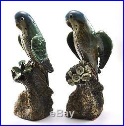 Vintage Chinese PARROTS Shiwan Clay Statue LOVE Porcelain Bird Handmade