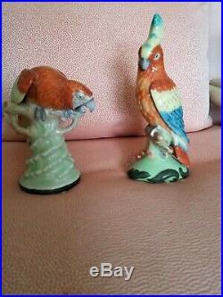 Vintage Chinese Porcelain Amazon Bird Statues Beautiful Glaze & Detail. Perfect