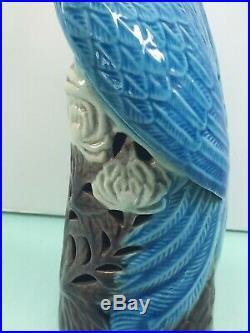 Vintage Chinese export turquoise blue glazed porcelain phoenix peacock bird