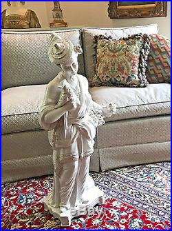 Vintage Chinoiserie Tall White Porcelain Oriental Lady Statue, Bustle & Bird