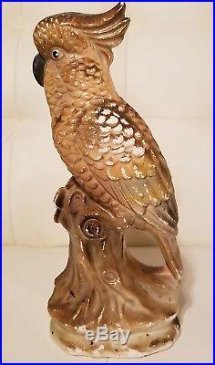 Vintage Cockatoo Bird Figurine Statue Ceramic Porcelain Parrot Tropical