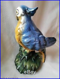 Vintage Italian Ceramic Porcelain Majolica Parrot Bird Statue Figure 12 Tall