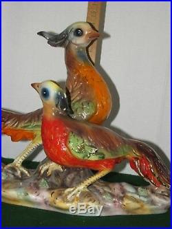 Vintage Italian Pheasants Ceramic Figurine Lrg Bird Statue Mid Century Italy 2ft