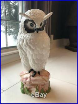 Vintage Italy Ceramic Owl Statue Large Figurine