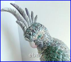 Vintage Large Chinese Porcelain Cockatoo Parrot Bird Statue Figurine