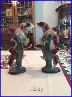 Vintage Mid-Century Mallard Duck Statues Maddux Large Tall 10 1/2 Tall EUC