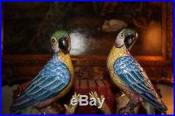 Vintage PAIR Majolica Style Ceramic Parrots Birds Figurines Statues 11 Tall