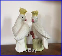 Vintage Pair Chinese Porcelain Parrot Figurines Birds Cockatoo Art Deco Style