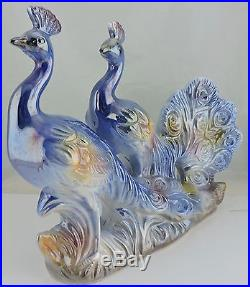 Vintage Peacock Figurine MID Century Majolica Iridescent Blue Birds Statue