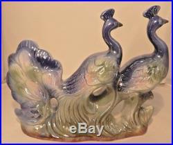 Vintage Peacocks Porcelain Figurine MID Century Iridescent Blue Birds Statue
