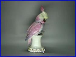Vintage Pink Cockatoo Parrot Porcelain Figurine Karl Ens Germany 1930-1940 Decor