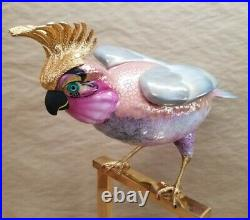 Vintage Porcelain Gold Crested Cockatoo Bird on Perch Mangani Oggetti Italy
