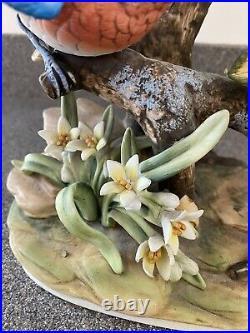 Vintage RARE Porcelain Statue Figures Andrea Sadek Blue Birds On Branch Rocks