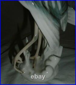 Vintage Royal Dux Bohemia Heron with Fish Porcelain Figurine Bird Statue