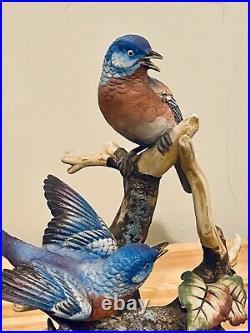 Vintage Scarce Porcelain Statue Andrea Sadek Blue Birds Home Decor Statue 11