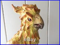 Vintage Signed Large 14 Porcelain Pottery COCKATOO Parrot BIRD Statue Figurine