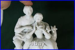 Vintage bisque marked porcelain romantic group statue couple bird sheep
