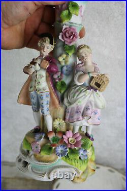 Vintage french porcelain majolica romantic couple bird bowl statue
