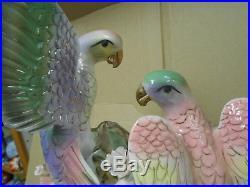 Vintage multi color porcelain birds with roses in love statue figurine figure