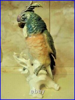 Vintage statue Karl Ens Large Blue Porcelain Parrot Bird Figurine Germany Marked