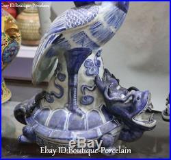White Blue Porcelain Cranes Bird Dragon tortoise Turtle Candle Candlestick Pair