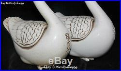 White Porcelain Swan Swans Goose Goosey Bird Animal Incense Burner Censer Pair