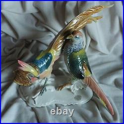 XL 12 Antique ENS Gold Pheasant Forest Hunt Bird German Porcelain Figure Statue